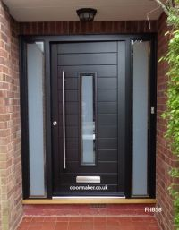 contemporary black door and sidelights | porch modern ...