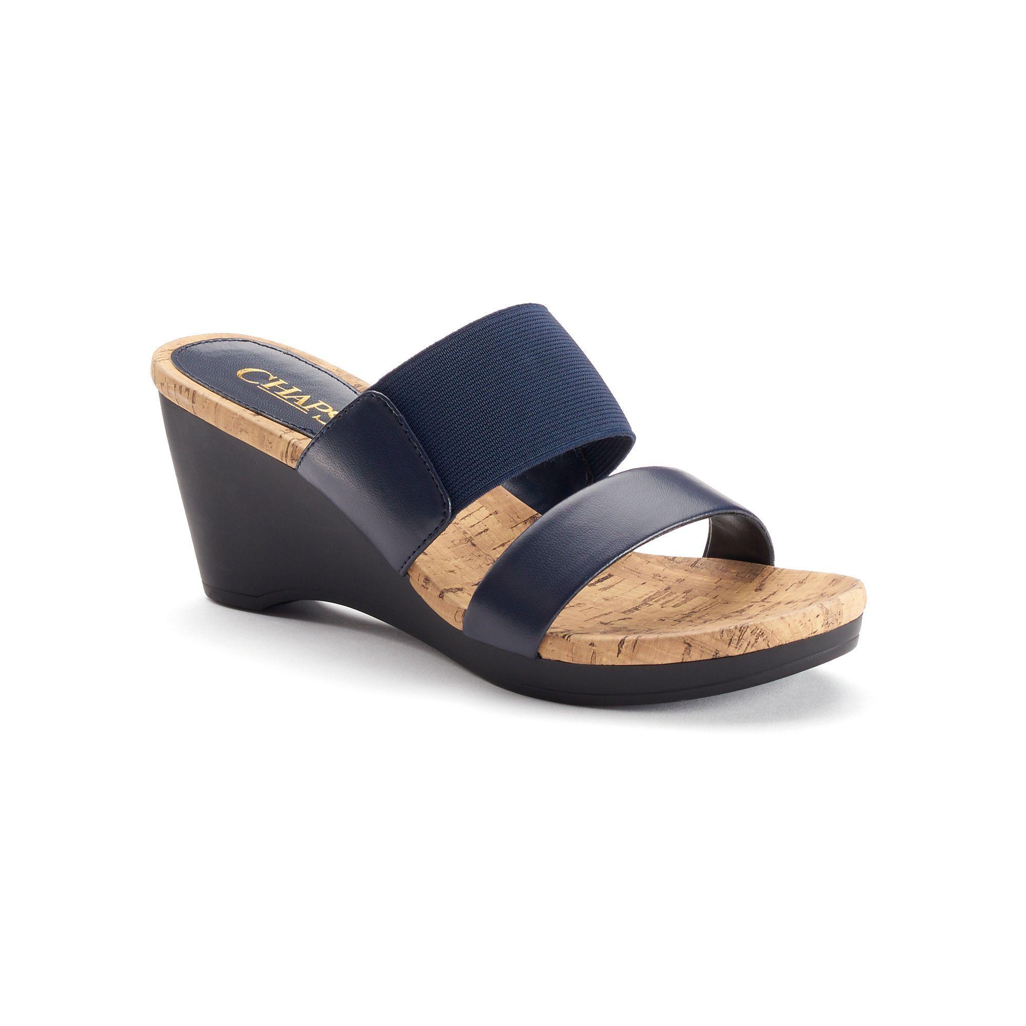 Chaps rhoda women s slip on wedge dress sandals size 11 b blue navy
