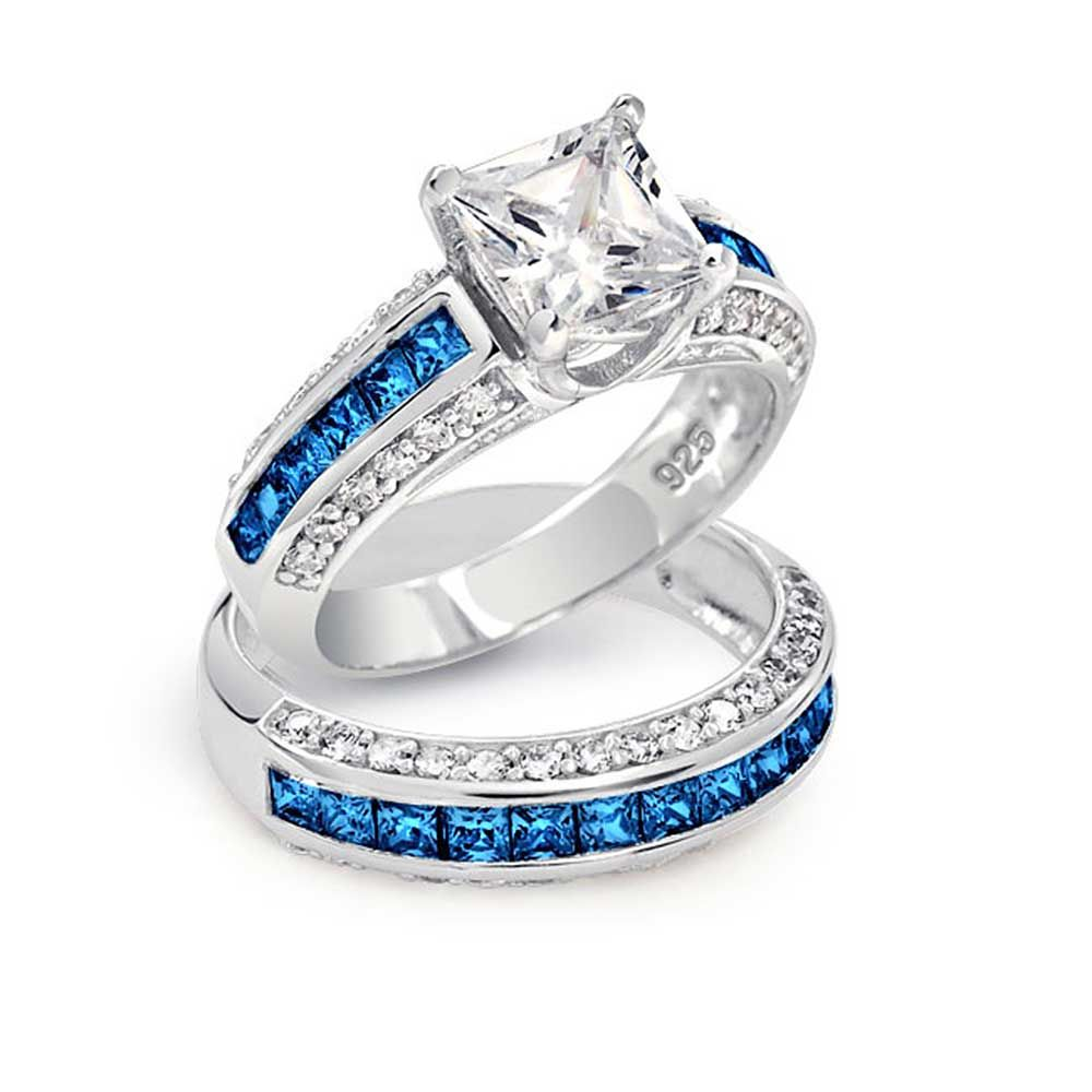 blue wedding rings Blue Diamond Wedding Ring Sets Blue Diamond Engagement Rings Princess Cut Jewelry Gallery