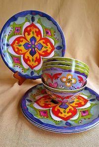16-Piece Melamine Dish Set Spanish Mediterranean Plate ...