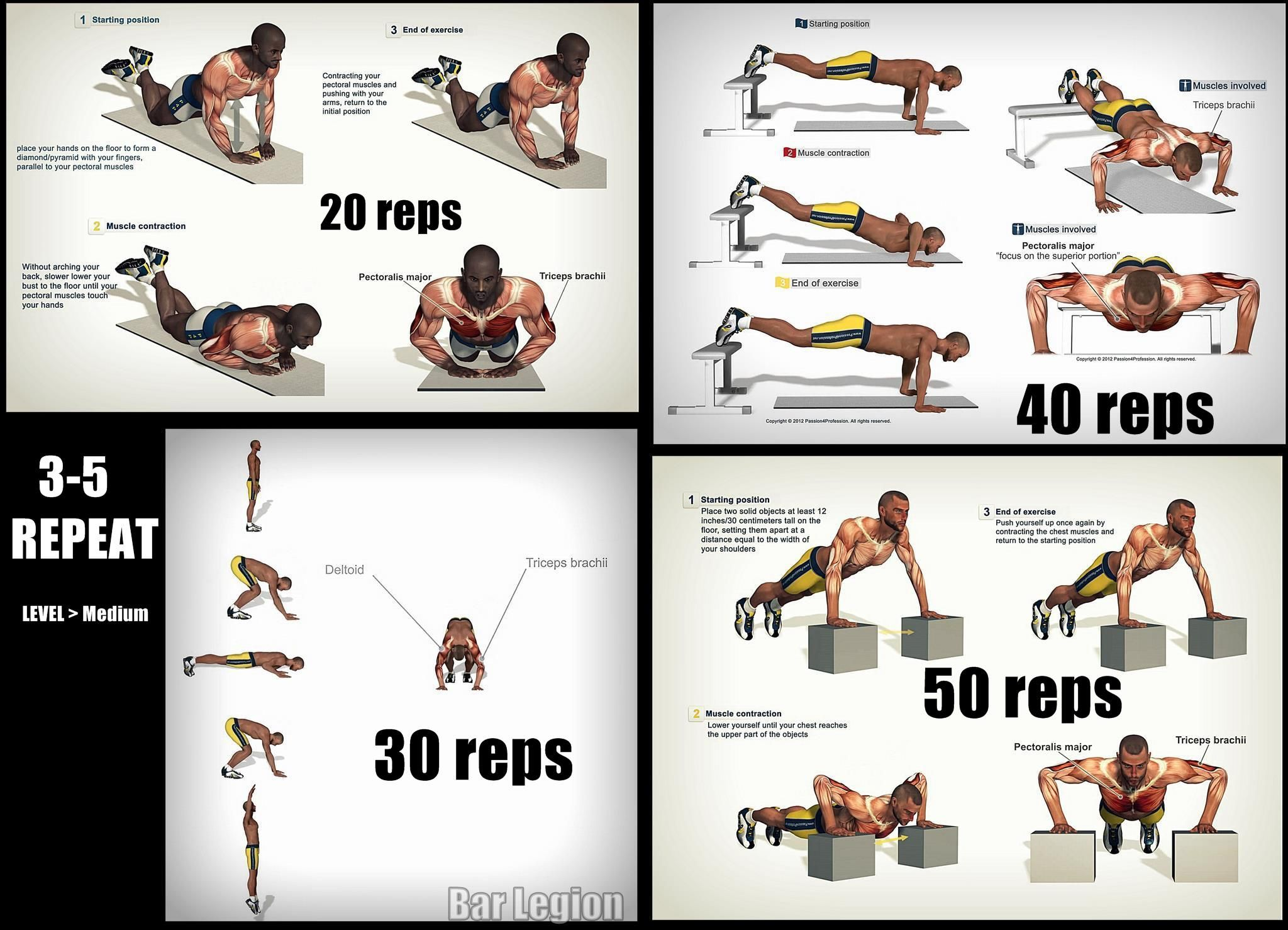 Gym Workout Chart For Chest For Men Push Up Routine Pinteres