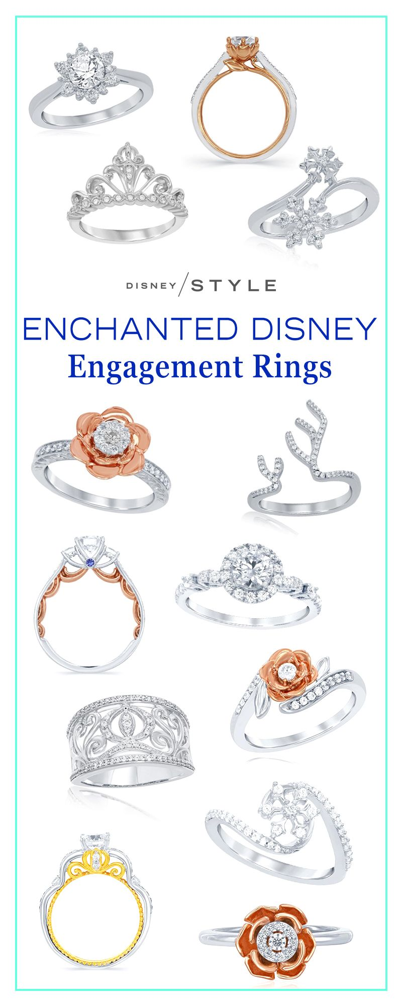 disney wedding ring The new Enchanted Disney engagement rings are truly magical Disney Weddings diamond rings with