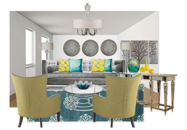 Gray, Teal and yellow living room by andreao Olioboard For the - teal living room ideas