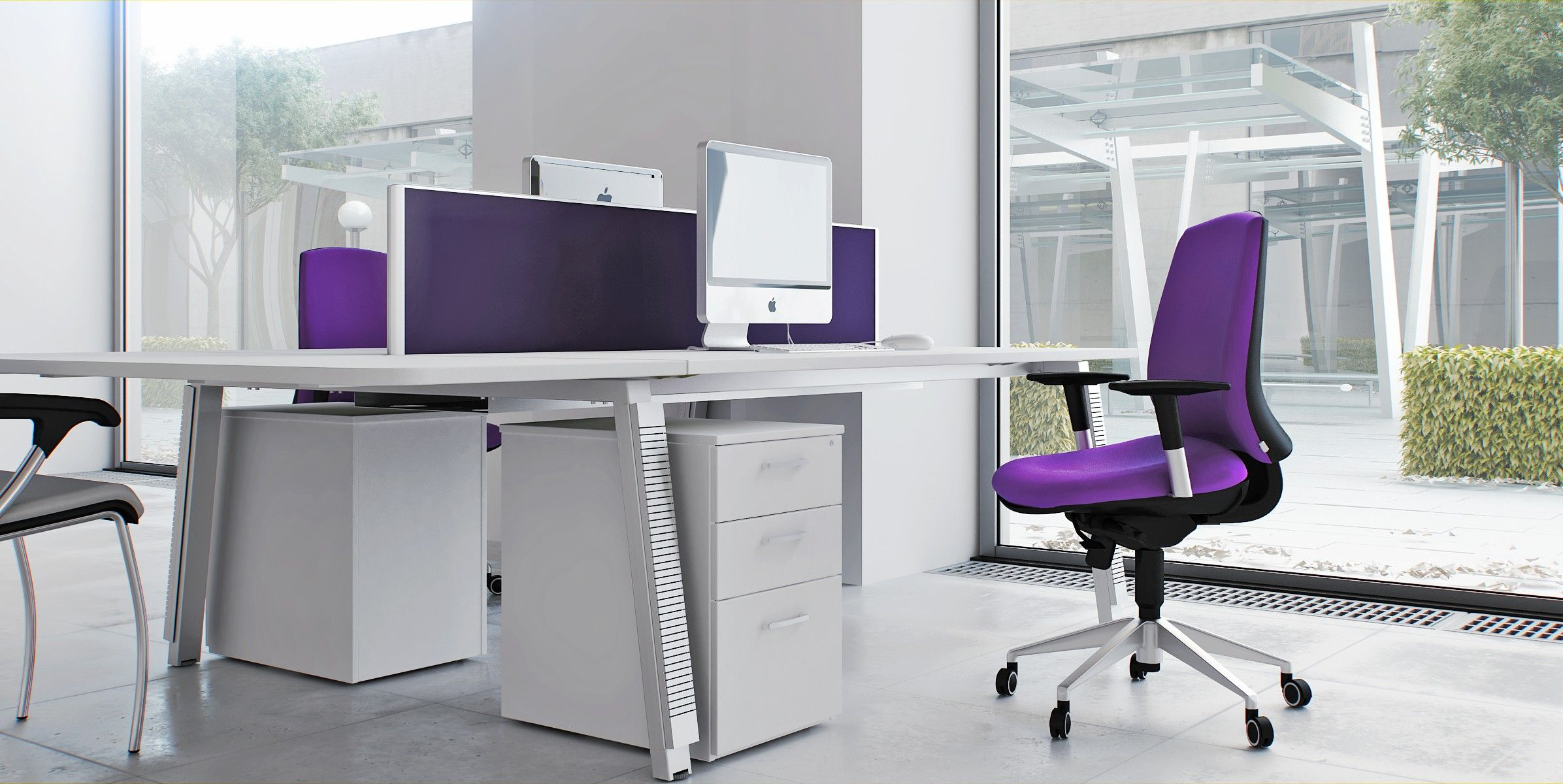Modern Office Decorations Captivating Modern Office Chair With Soft Purple Fabric