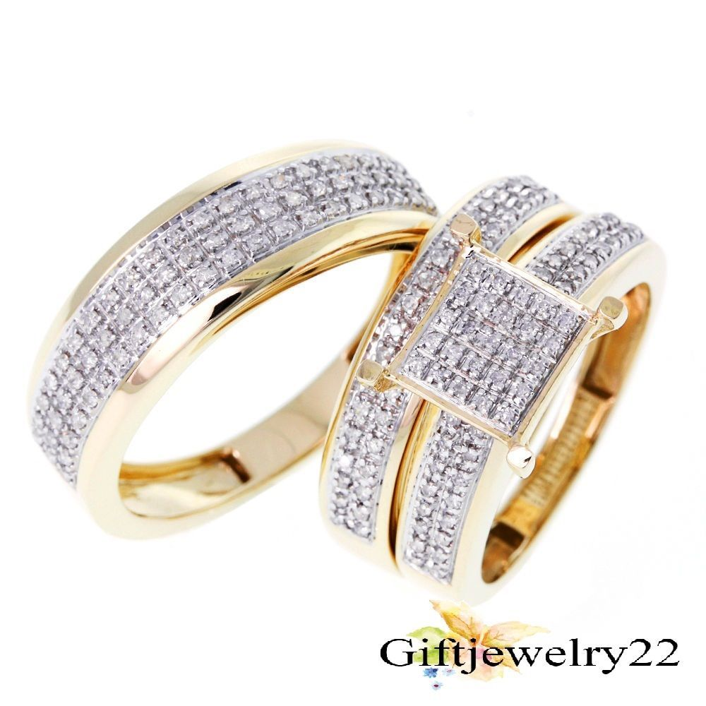 his and her wedding ring sets ct diamond trio set yellow gold over matching his download - His And Her Wedding Ring Set