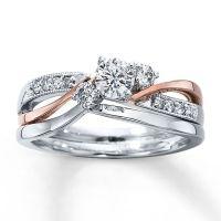 Diamond Bridal Set 3/8 ct tw Round-cut 14K Two-Tone Gold ...