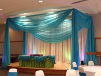 Stage canopy and cake table draping for a sweet sixteen ...