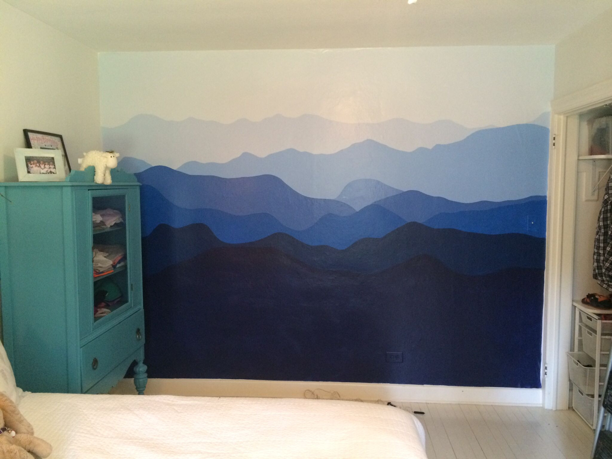 Baby Girl Nursery Removable Wallpaper Blue Ridge Mountains Painted On Bedroom Wall Interiors