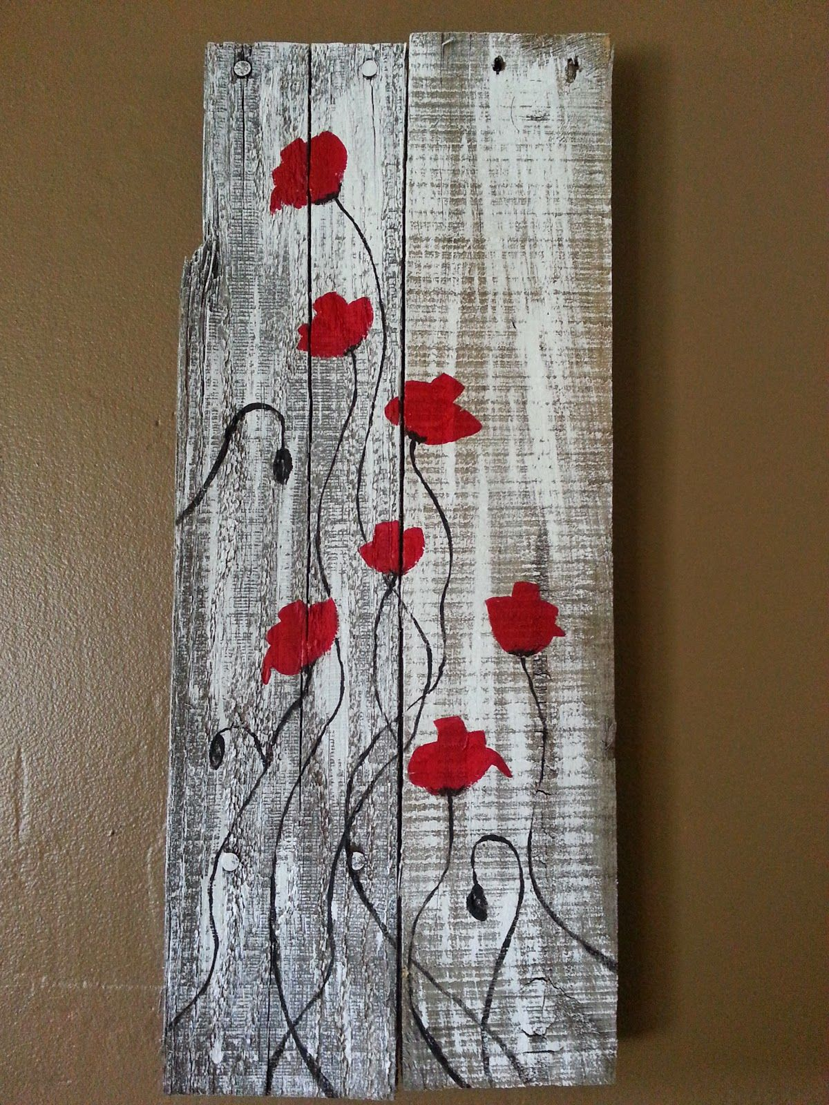 Art Painted On Wood Red Poppies On Reclaimed Wood Primitive Fine Art By
