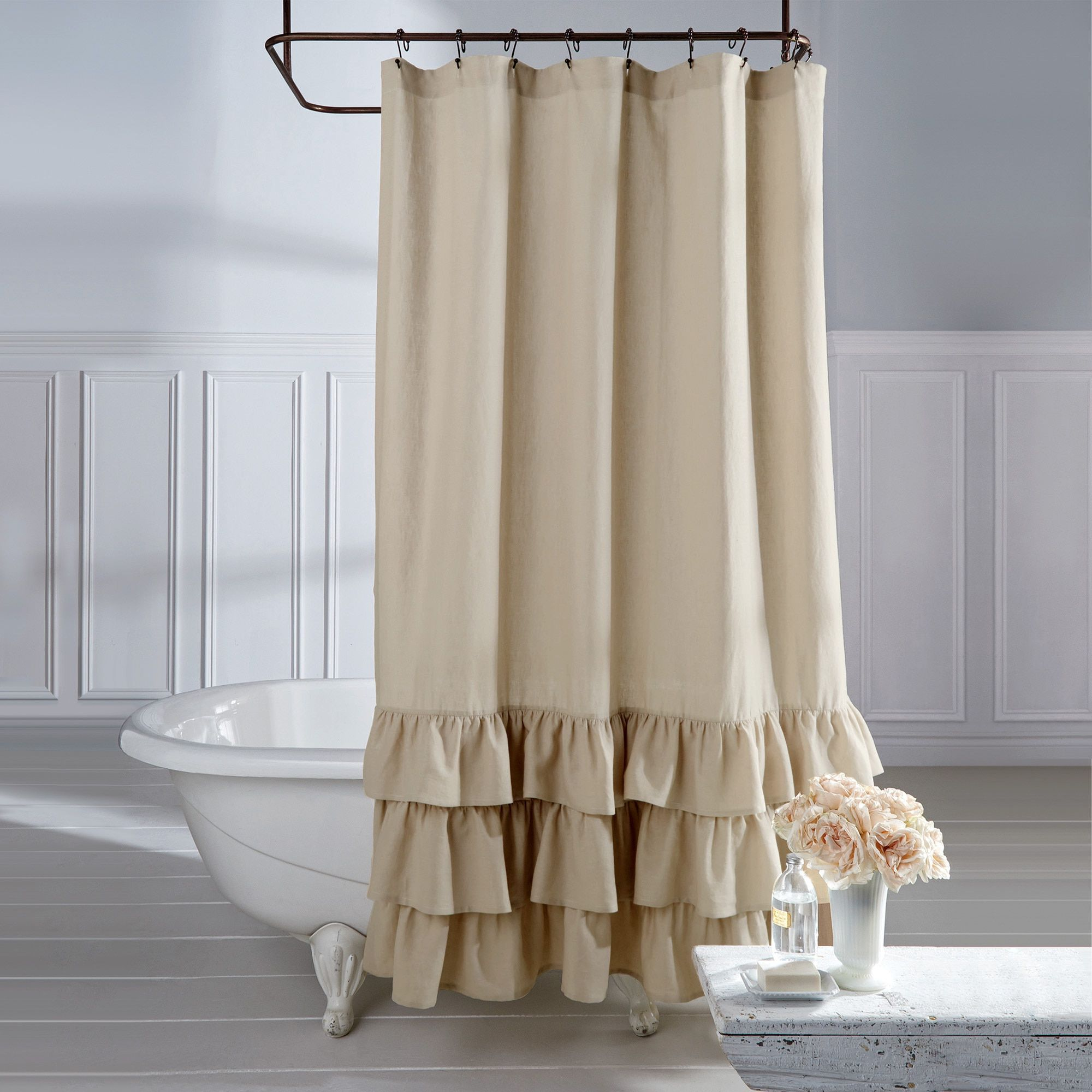 Curtain Deals Veratex Linen Vintage Ruffle Shower Curtain Overstock