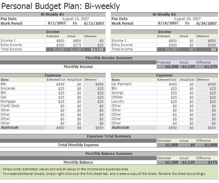 Free Biweekly Budget Excel Template A Home of My Own Pinterest - home budget spreadsheet