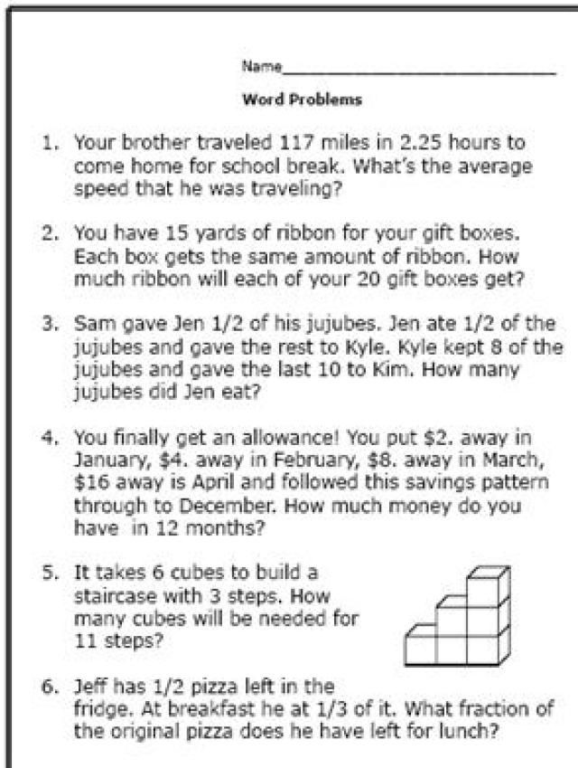 Here Are Some Math Word Problems Perfect for 6th Graders - sample word problem worksheets