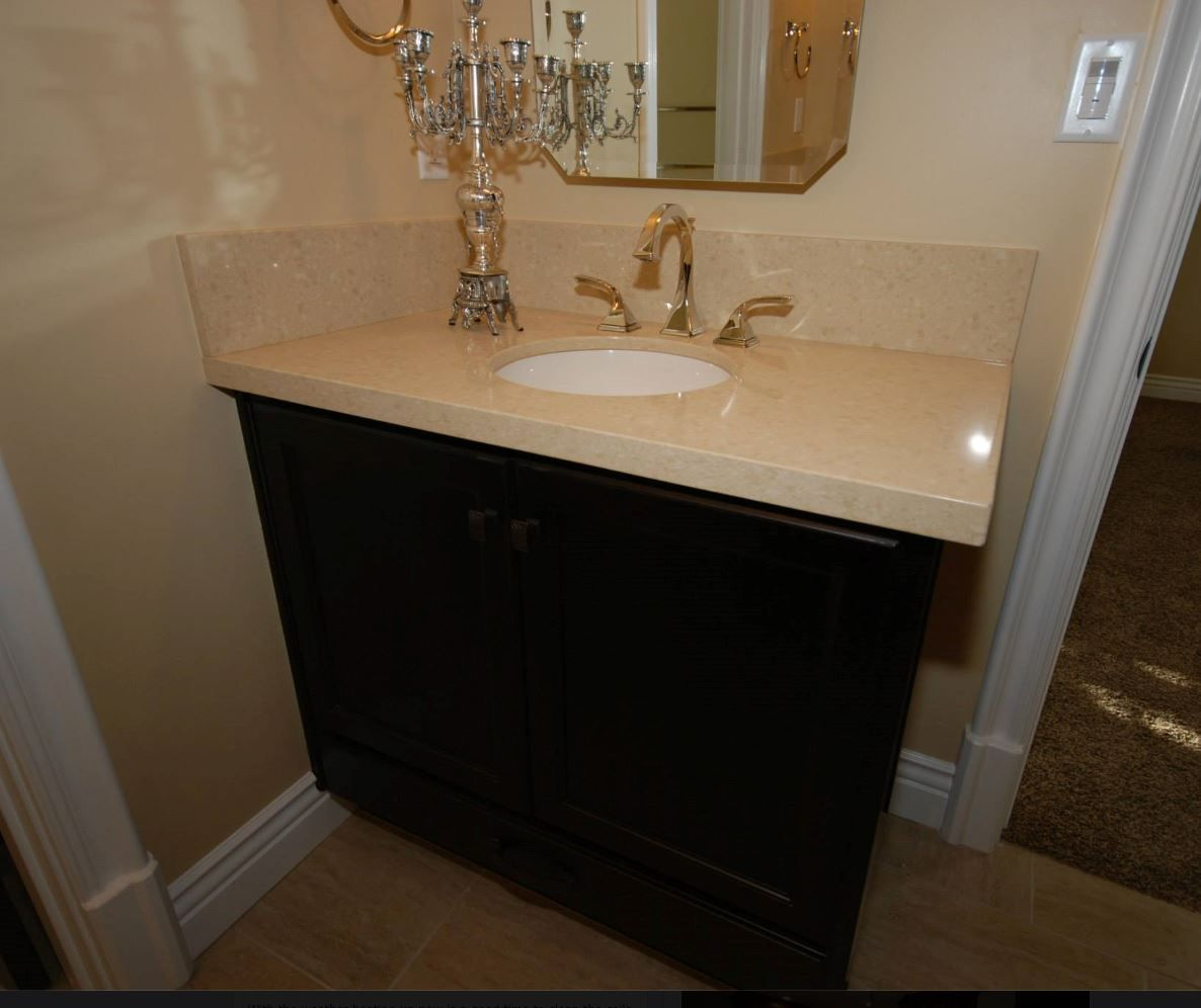 How To Polish Bathroom Countertops Jack And Jill Bathroom Starmark Cherry Cabinets With Java