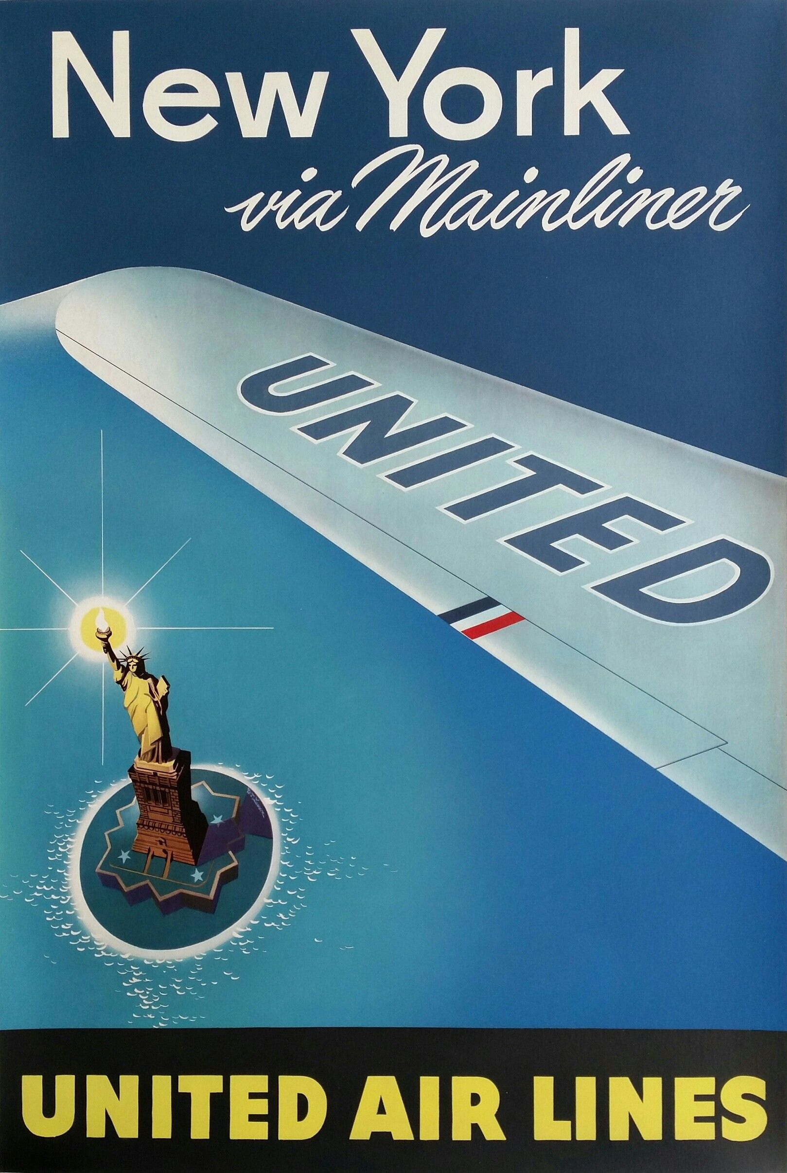 Affiche New York Original 43vintage 43poster 43united 43airlines 43new 43york 43via
