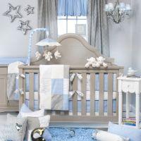 Tasteful Baby Blue and Grey Nursery Room with Grey Crib ...