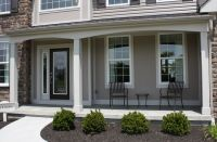 Exterior, : Cute Contemporary Front Porch Design And ...