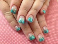 teal glitter acrylic nails tumblr | Nail Design Art ...