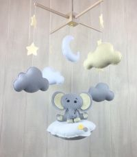 Elephant mobile - Elephant, sun and stars mobile- baby ...