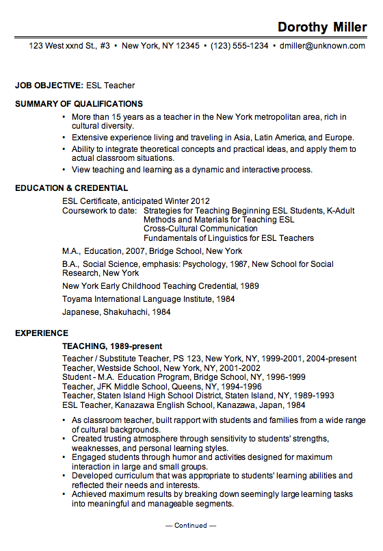 sample resume objective for esl teacher