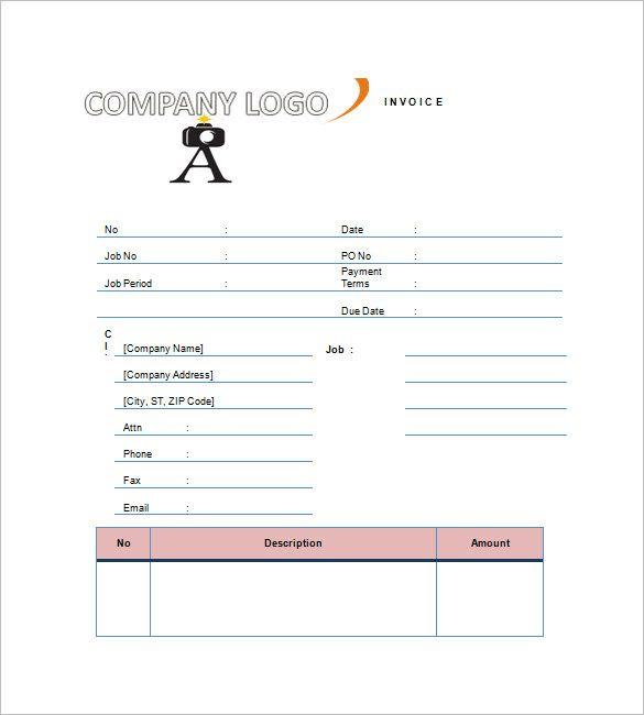 Photography Invoice Template âu20acu201c 8+ Free Word, Excel, Pdf Format - photography invoice template
