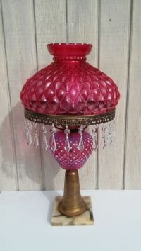 Vintage Cranberry Glass Lamp Crystal Prisms Marble Base
