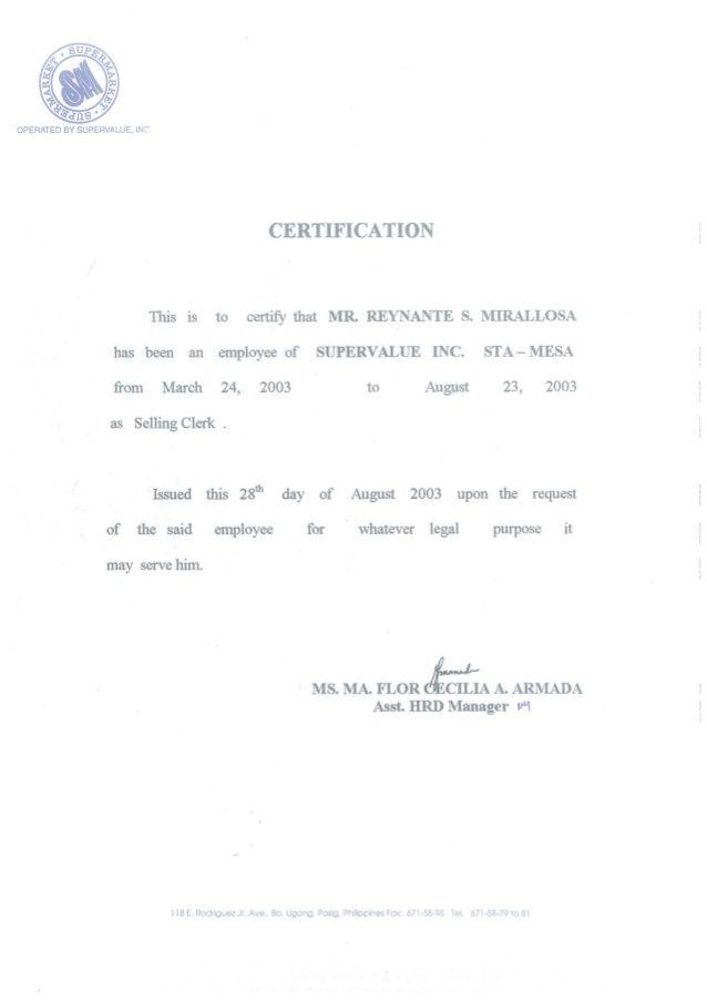 CERTIFICATE OF EMPLOYMENT SM-SELLING CLERK diy denim bags - certification of employment sample