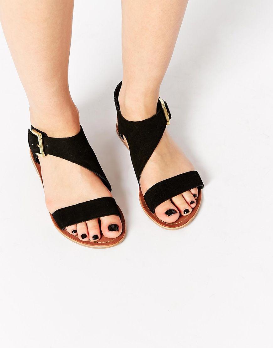 Carvela kirby black suede flat sandals asos
