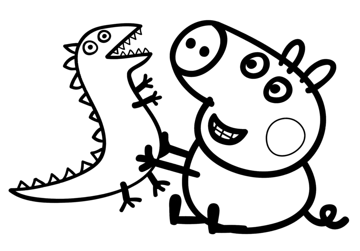 Colouring pages to print peppa pig -  Printable Peppa Pig George Colouring Pages Download