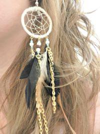 Handmade Dream Catcher Dangle Earrings | Diy dream catcher ...