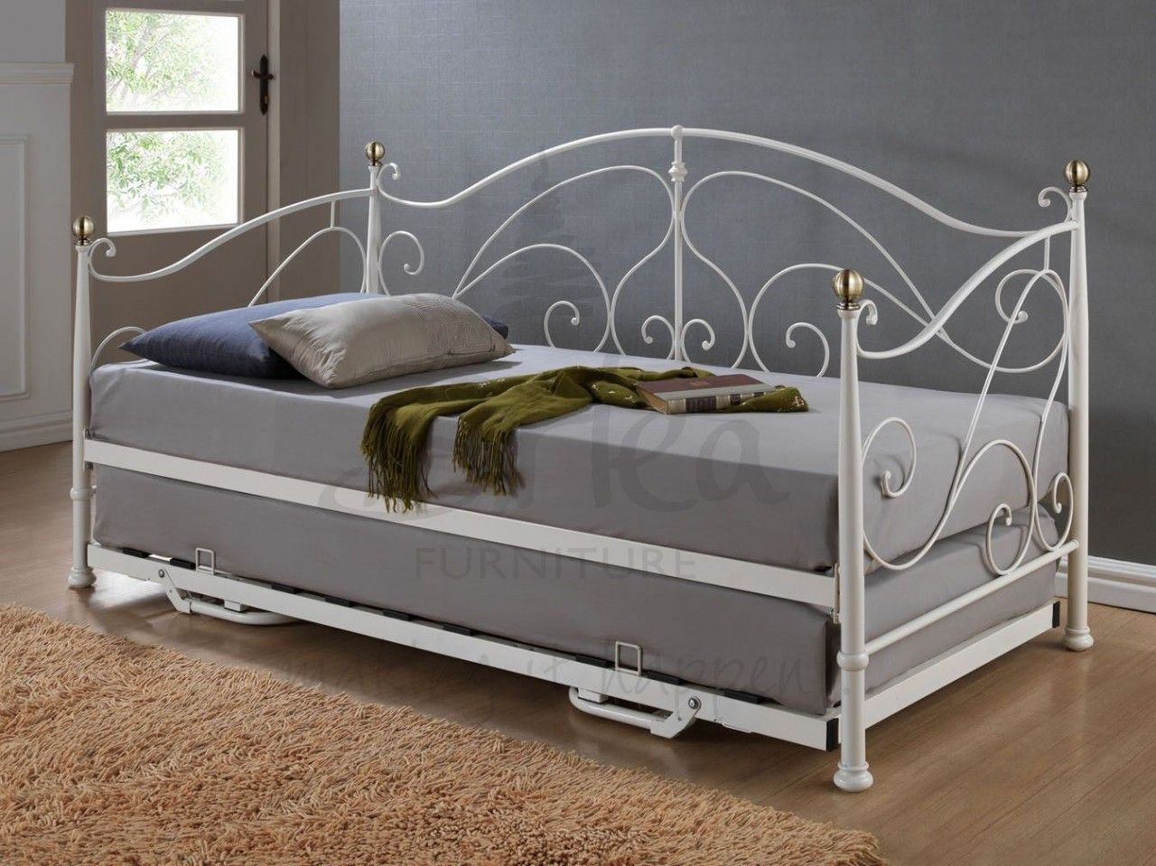 Iron Beds Australia Furniture Classic Daybed With Trundle In Pure Grey