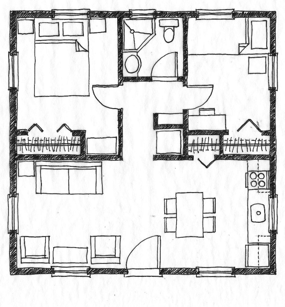 Small scale homes 576 square foot two bedroom house plans almost the exact layout of my former condo minus the porch