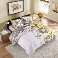 2pc Girl Yellow Black Gray Flower College Dorm Twin/Twin ...