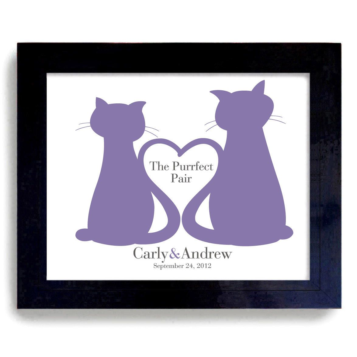 Unique Cat Lover Gift Unique Wedding Cats Gift Personalized Art For Cat Lovers