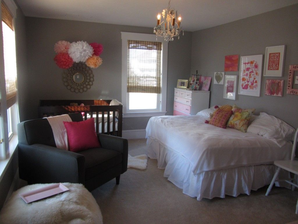 Full Bed In Small Room Little Girl Nursery With Full Size Bed As Well As Crib
