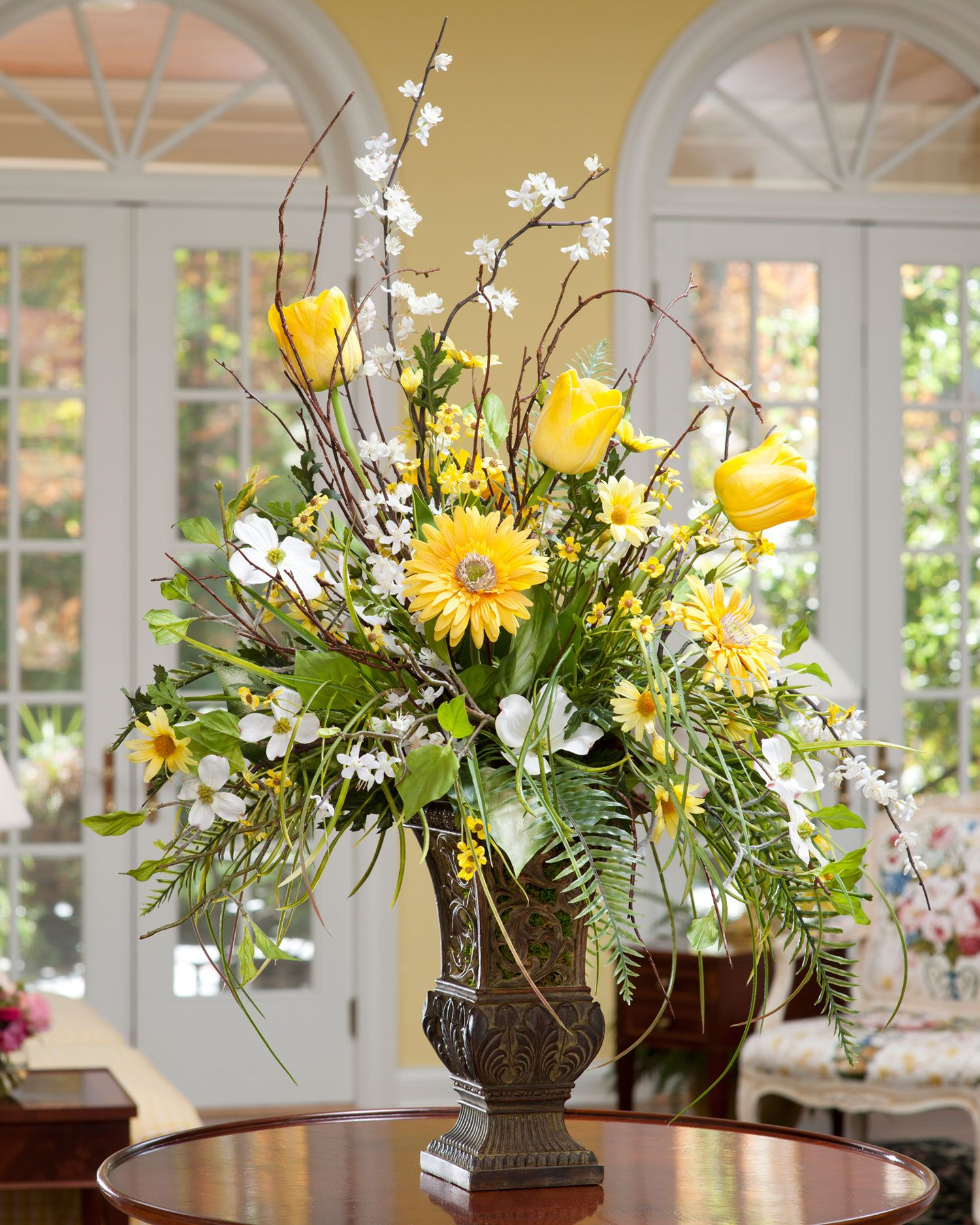 Fake Floral Arrangements For Home Flower Arranging In A 12 Quot Tall Vase Home Shop At Home