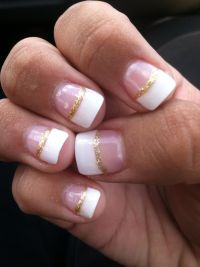 White French tip with gold glitter manicure. | Nails ...