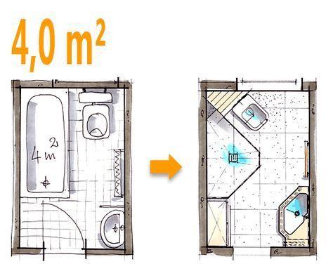 Schön Badplanung Beispiel 4 Qm Spezielle Duschlösung Im Ehemaligen   Kleine Badezimmer  4 Qm