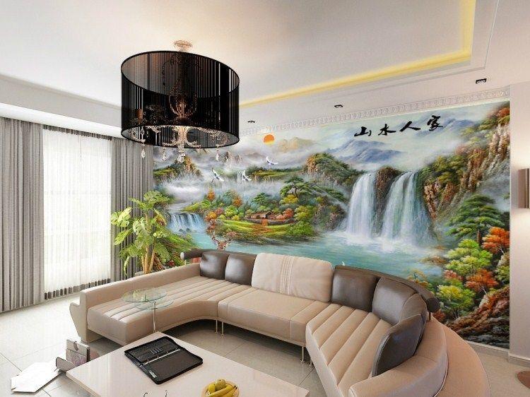 Custom-mural-wall-bedroom-TV-background-wallpaper-the-living-room - 3d wallpaper for living room
