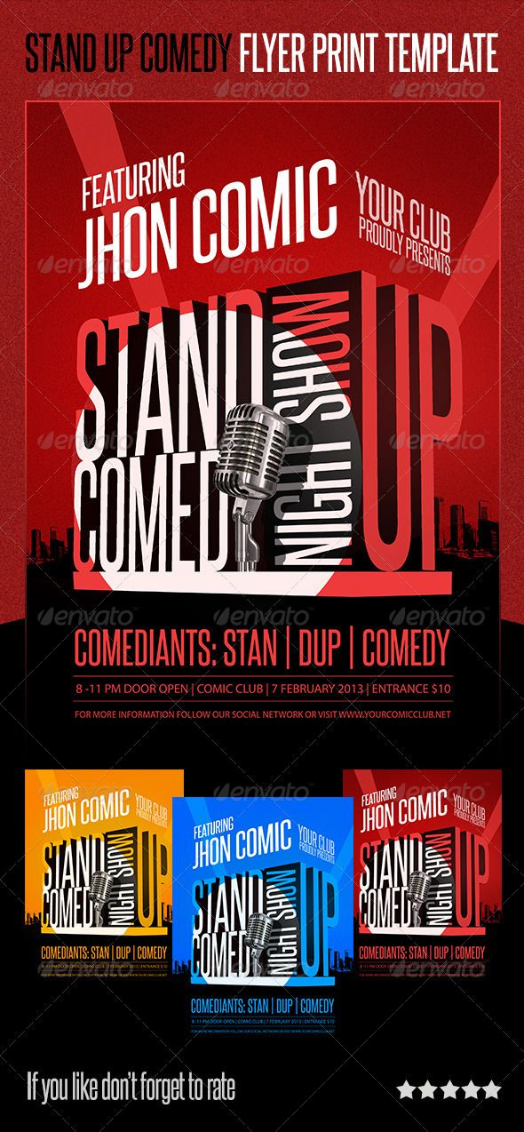 Stand-Up Comedy Flyer Print Template Flyer printing, Print - comedy show flyer template