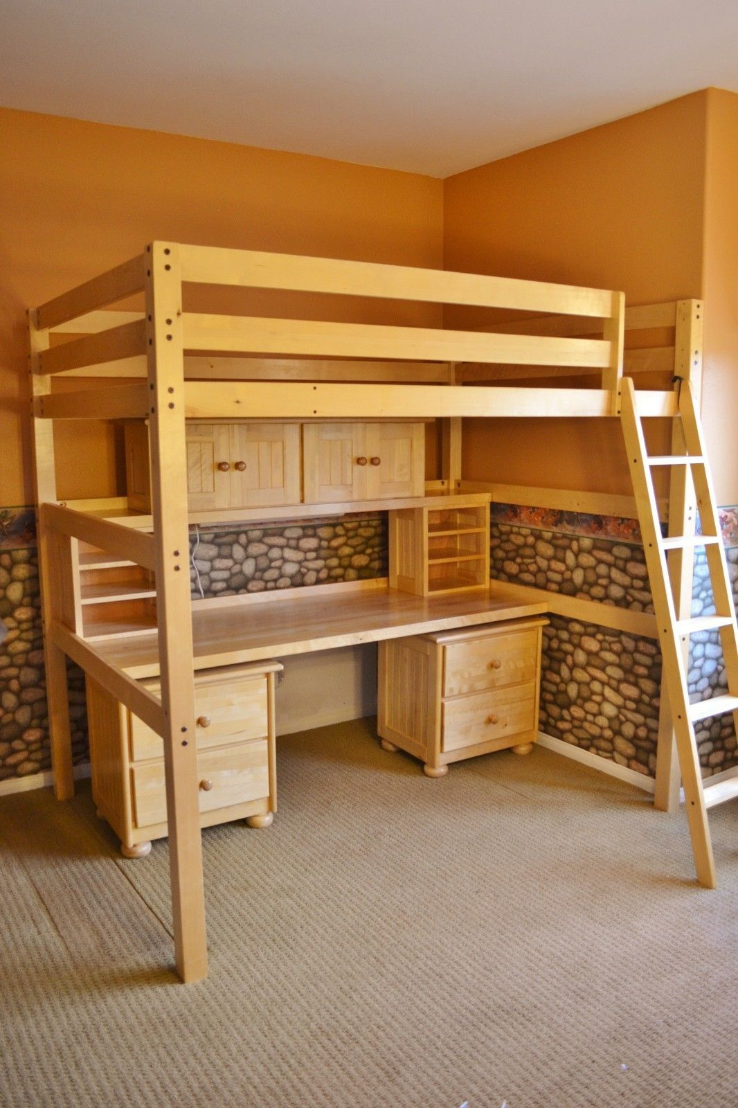 Bed Loft Childrens Student Full Sized Loft Bed And Desk System