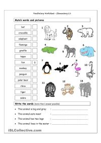 Vocabulary Matching Worksheet - Elementary 2.6 - (WILD ...