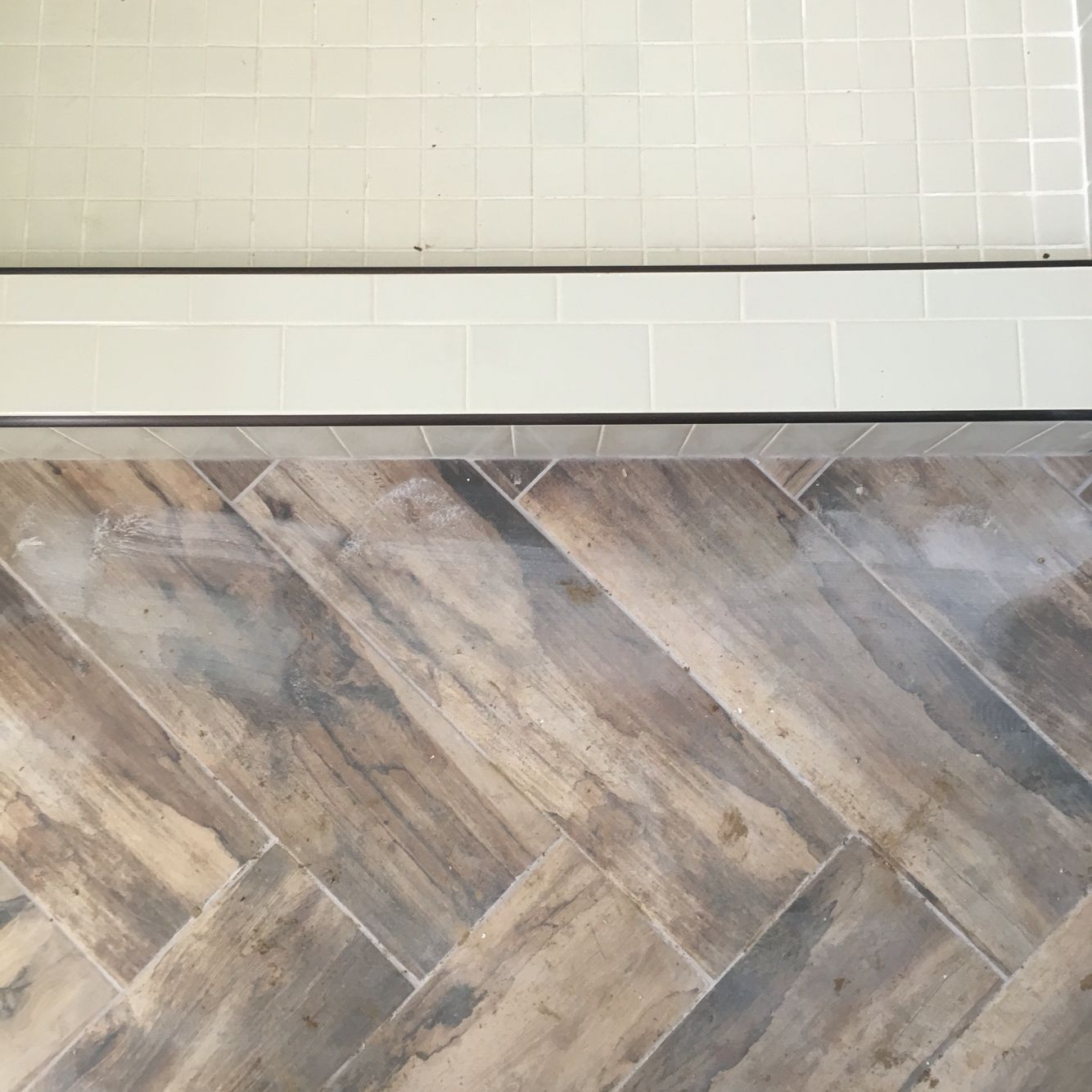 Wood Shower Floor Subway Tile Shower With Herringbone Wood Look Tile