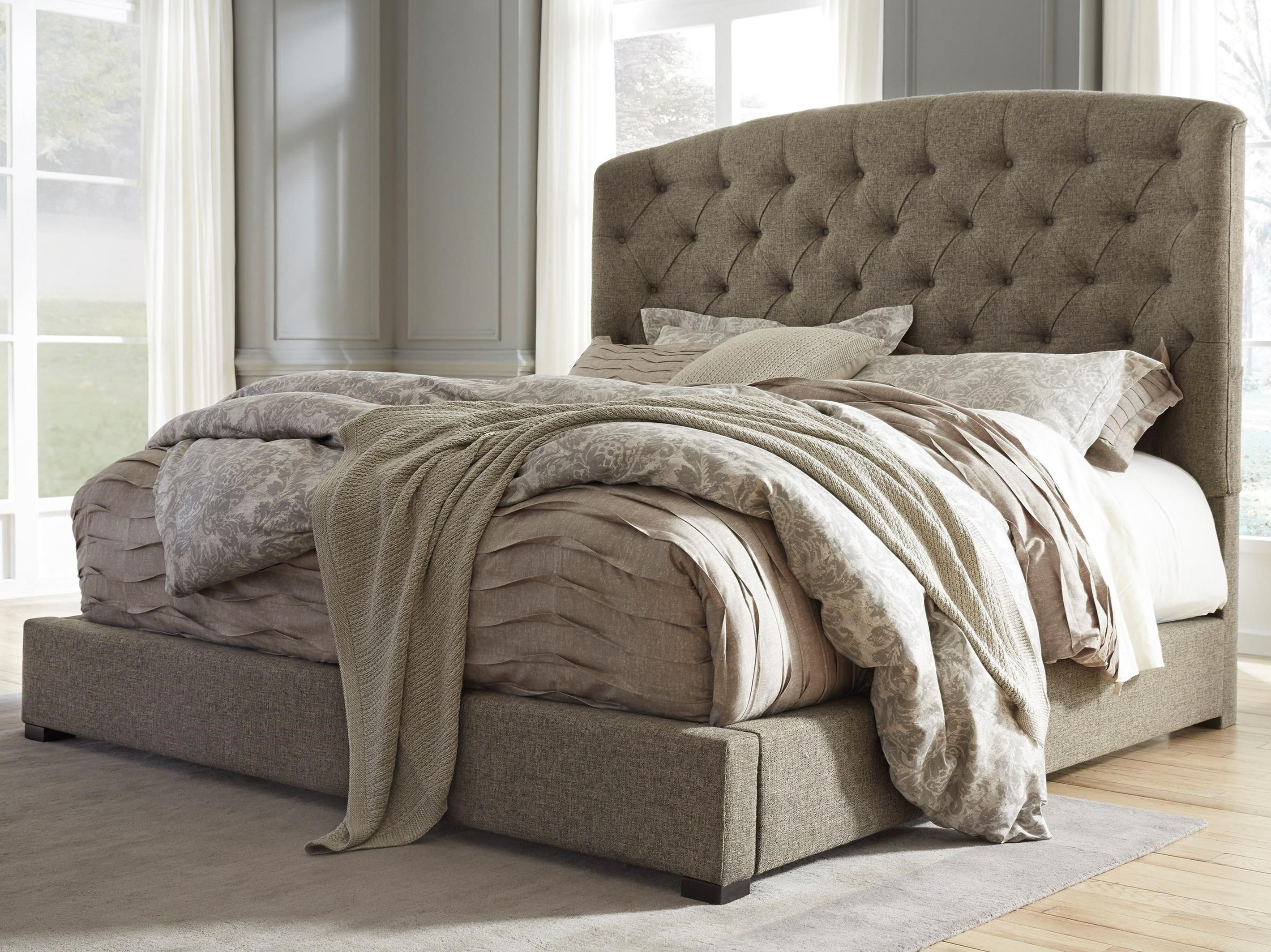 Very Low Bed Signature Design By Ashley Gerlane King Upholstered Bed