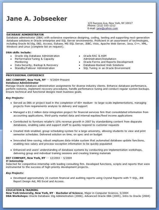 Database Administrator Resume Sample Creative Resume Design - sample database administrator resume