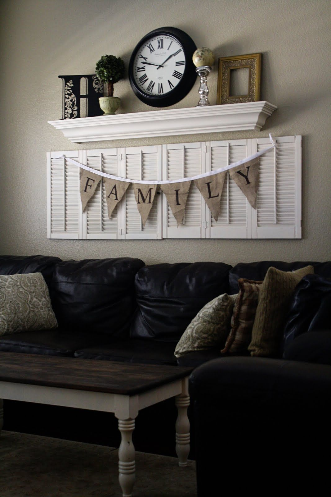 Where To Hang Wall Clock In Living Room I Love This Idea Shutter With A Shelf Above And A Bunting