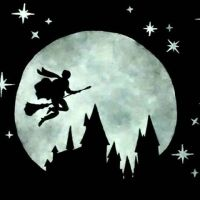 #watercolor #silhouette #harrypotter #moon #hogwarts ...
