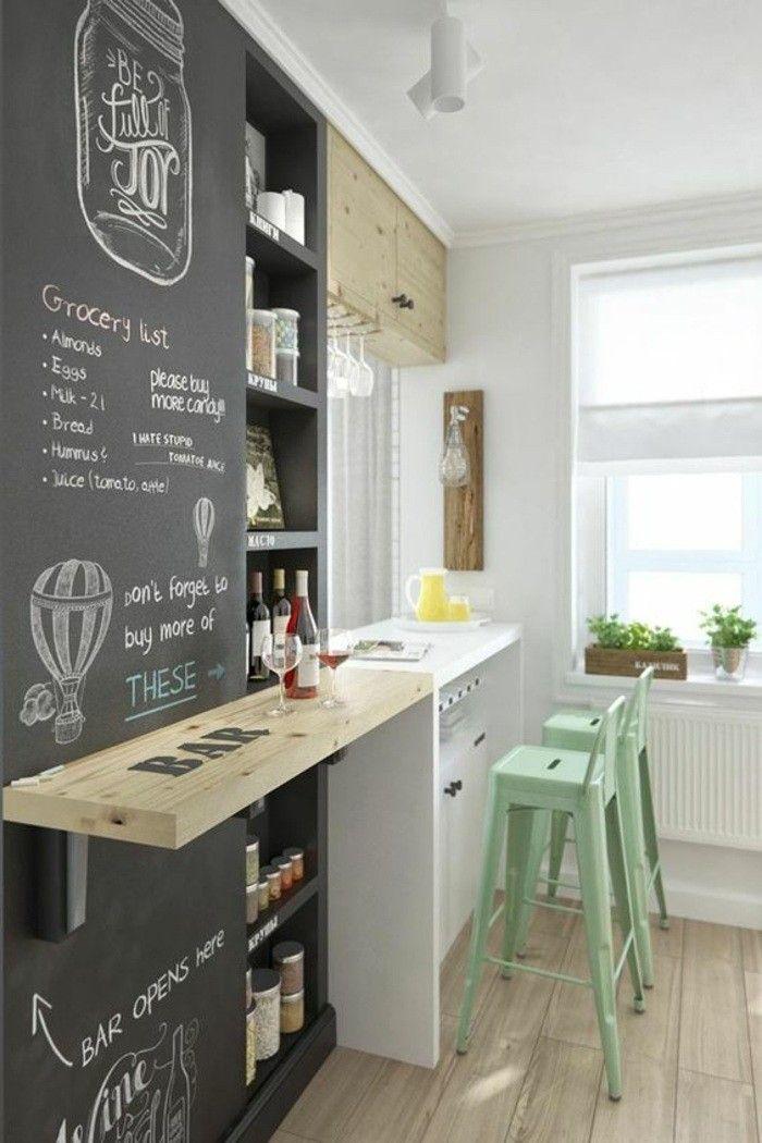 deko tipps schwarze tafel bar grüne stühle weinglas weinflasche - schwarze kuche tipps bilder interieur