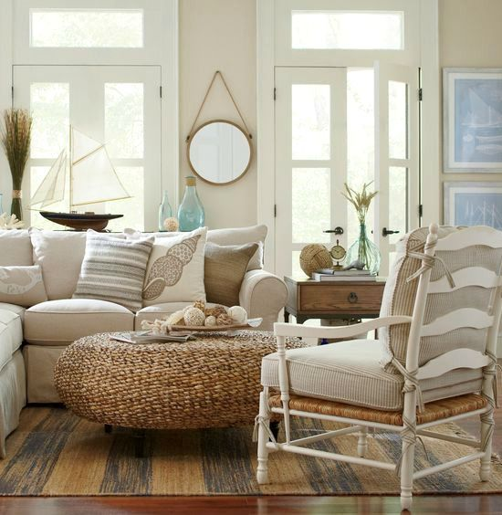 Rustic Beige Beach Cottage Living Room Birch Lane Catalog Bliss - beach living room furniture