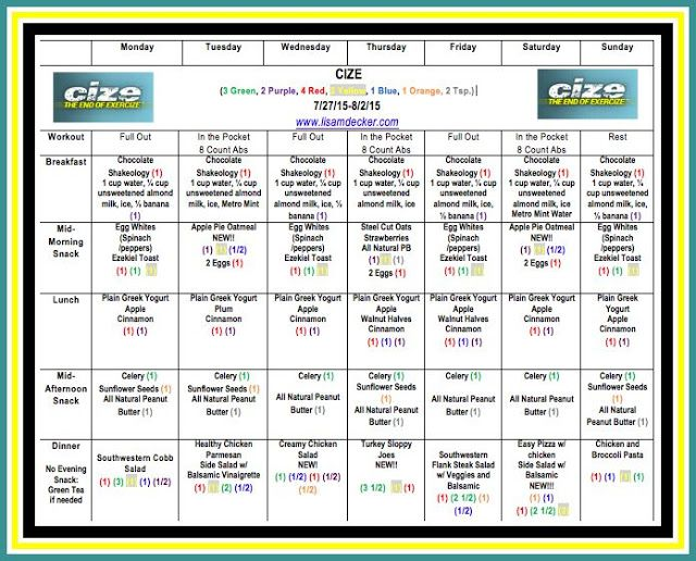 Learn how to create your CIZE meal plan and see a sample plan - sample workout calendar