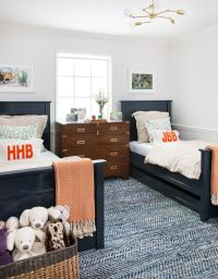 Double twin beds and patterned textured rug | Jennifer ...